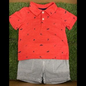 Two pieces set: pants and polo shirt 12M - (USED)